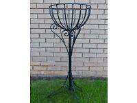 Black pedestal flower basket/plant holder