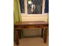 Sheesham Indian Hardwood desk / console table / dressing table