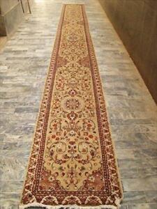 Rare Beige Amazed Floral Soft Hand Knotted Carpet Hall Way Runner Rug (23.1 x 2.6)'