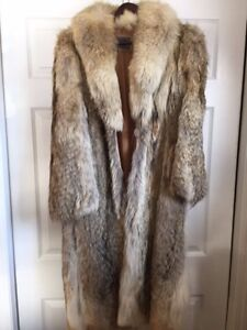WOLF FUR COAT- beautiful full length-great shape