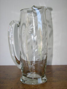 ETCHED CRYSTAL GLASS ICE TEA WATER DRINK PITCHER JUG