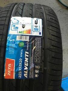 Four New 255 / 35 R20 Zeta Alventi Performance tires
