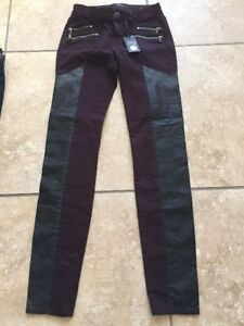 Ladies NWT Size 26 Dex Burgundy pants with Faux leather inserts