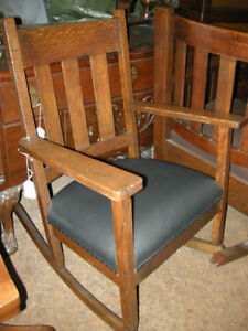 antique arts & craft chairs restored with leather/fabric