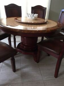 7 piece wood and real marble rotating dining set