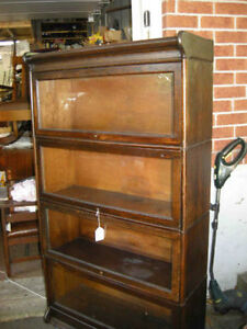 Antique four glass level barrister bookcase - restored