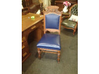 Delightful Antique Victorian Gothic Carved Oak Hall Chair - Desk/Occasional/Bedroom Chair
