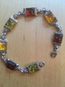 Bracelet Argent & Ambre 4 Couleurs/Color Amber & Silver Bracelet