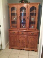 $975 OR BEST OFFER - MAPLE BUFFET & HUTCH + 6PRSN TABLE