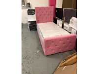 single pink soft velvet bed frame and mattress new