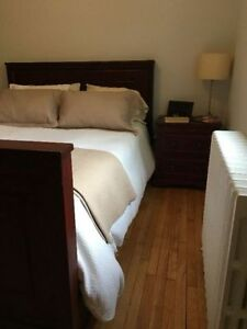 Queen Bed Frame & Night Table - Solid Wood Pottery Barn Design