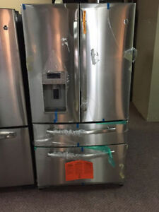 "GE 36"" Stainless French-Door Double Freezer Fridge"