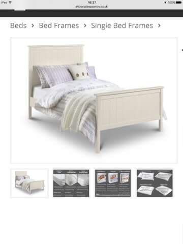 Single Ivory Wooden Bed Frame
