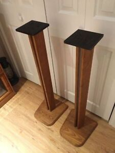 """Two Sold Oak 36"""" Speaker Stands Immaculate Condition"""