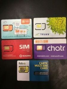 sim cards available , Bell,Rogers,Public,Chatr,virgin,Fido 10$