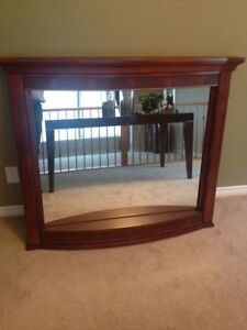 Beautiful REAL Cherry Wood Mirror - With Light - MINT!