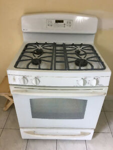 "Quick sale GE profile 30"" gas white full digital stove oven 2YR"