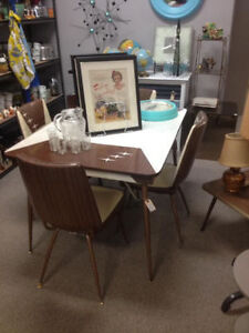 Retro mid century table and 4 chairs