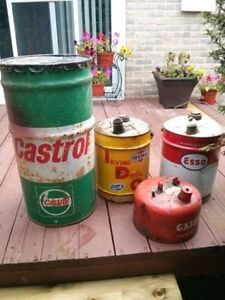Irving, Esso, Castrol oil cans