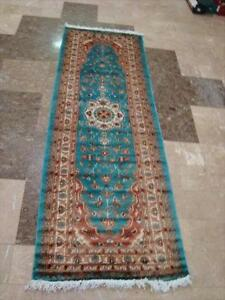 SEA BLUE FLORAL HAND KNOTTED RUNNER WOOL SILK CARPET 6x2 Fb-2868