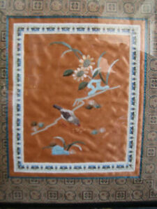 Vintage Chinese Silk Fabric Hand Embroidered Art Pictures Pair 2 Kitchener / Waterloo Kitchener Area image 3