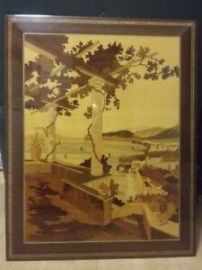 INLAID WOOD ARTWORK, PICTURE OF SORRENTO, ITALY