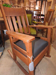 variety of antique arts and craft / mission chairs new leather