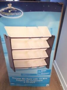 NEW Imaginarium storage bin rack with 12 bins