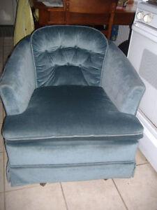 1970's blue swivel tub chair