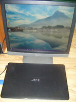 Acer laptop with 19 inch lcd monitor for sale