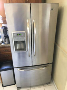 Maytag stainless steel double door fridge w/ slide out freezer