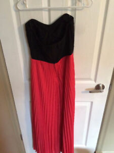 Sweetheart Strapless Coral & Black Dress