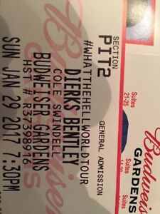 Dierks Bentley Pit Tickets Closest to Stage GA!  Hard Copy!