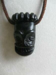 "RUSTIC EARTHY 38""  LEATHER THONG RARE HEAD-HUNTER NECKLACE"