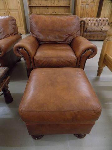 Marvelous John Lewis Tetrad Cordoba Conker Brown Leather Armchair U0026 Footstool
