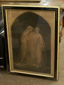 VICTORIAN ETCHING OF 3 YOUNG GIRLS,