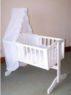 White Wooden Baby Cradle Woodville Charles Sturt Area Preview