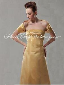 NEW! Gold 100% Satin Bridal Wrap Bolero Shrug Jacket Sz 10,12