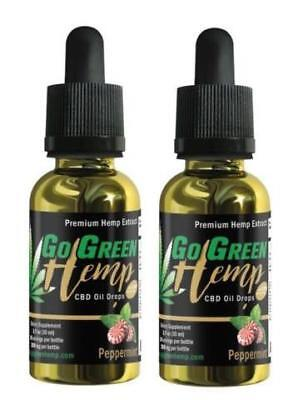 2 Pack 1000Mg Gogreen Hemp Strong Pure Natural Oil Tincture Go Green Peppermint