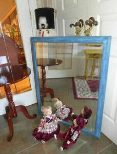 Élégant Miroir Bleu Poudre Art décoratif Patine usée Biseauté