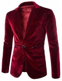 Mens L Red Blazer/Smoking Jacket (Great Hugh Hefner dress-up costume) NEW