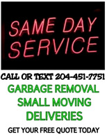 Same Day Junk Runs, Deliveries & More ! 204-451-7751