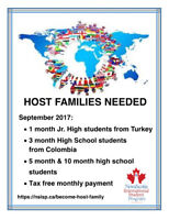 WANTED: Host Families (paid) Oct. 10 - Dec. 4