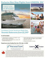 Celebrity Cruises direct flight from London, ON!