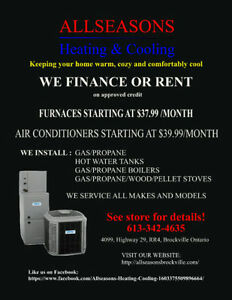 Furnaces & Air Conditioners starting at $37.99 & $39.99 monthly