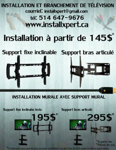 Installation de support mural ( tv / tablette / barre de son ).