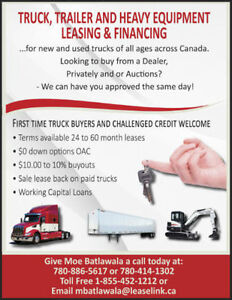Truck Trailer Financing approved today 3 months no payments