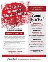 All Girls Summer Music Camp July 17-21 or August 14-18