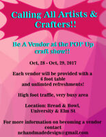 LOOKING VENDORS FOR UNIQUE CRAFT SHOW