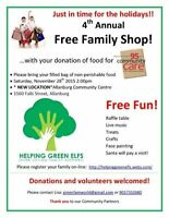4th Annual Christmas Family Shop Free event + Food Drive